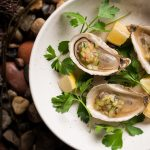 Merasheen-Bay-OystersFresh Oysters with Cucumber, Citrus & Ginger Mignonette